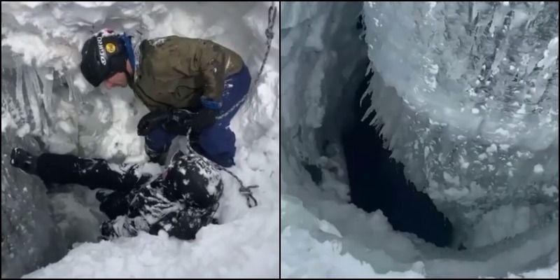 Сноубордисты провалились на глубину четырех метров под снег и выжили: как им это удалось