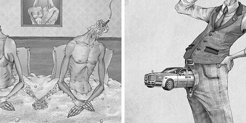 Мрачное искусство: Художник изобразил печальную правду о современном обществе в своих иллюстрациях