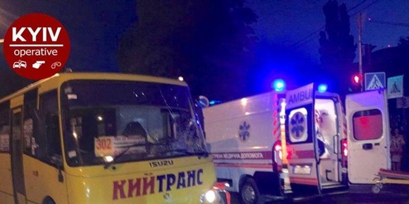Под Киевом маршрутка сбила мотоцикл, пострадал водитель байка