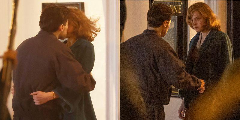 """Гарри Стайлс целует Эмму Коррин на съемках фильма """"Мой полицейский"""""""